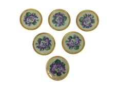 Heavy gold-plated coasters with handmade embroidery - 6 items - Circa. 1960
