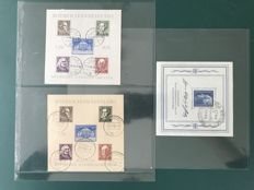 SBZ 1946/1949 – selection of three blocks: theater reconstruction in two types and 1st day cancellation Weimar - Michel 3A, 3B and 6