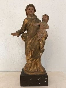 Nice polychrome wooden sculpture - Mary with child - Belgium - 18th / 19th century.