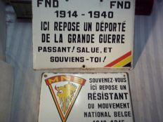 Enamel signs second world war resistance and deported Belgium