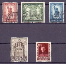 Belgium 1930/1932 - Composition with Infantry, Mercier and Stamps from OBP BL 2 and 3
