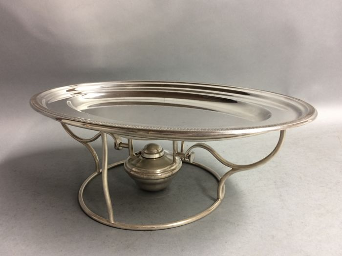 Silver plated oval serving tray on matching brazier, mid 20th century