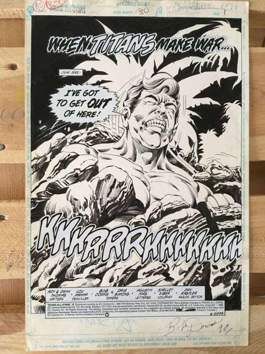 Original Art Title Page By Lou Manna And Bob Downs - DC Comics - Young All-Stars #30 - Page 1 - Title Splash - Signed - (1989)
