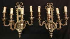 Pair of gilt bronze Sconces, lost wax casting technique - Italy, Milan