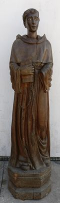 Large-sized oak wood sculpture with glass eyes, hand-crafted and sculpted - Franciscan Friar - Italy, Rome - 18th century