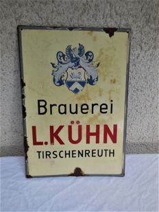 Old heavy solid enamel sign from Brauerei L.Kühn/Tirschenreuth