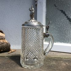 Diamond cut crystal tankard with silver lid, Netherlands, maker unknown, probably 1st half 20th century