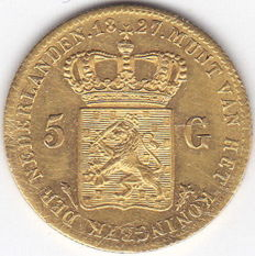 The Netherlands - 5 guilders 1827 Utrecht, Willem I - gold