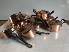 Batch of pans and saucepans in copper France, 50's