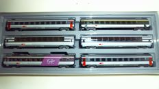 """Marklin H0 - 4367 - Six-piece set of various EuroCity-Express train carriages """"Le buffet Suisse"""" of the SBB CFF FFS"""