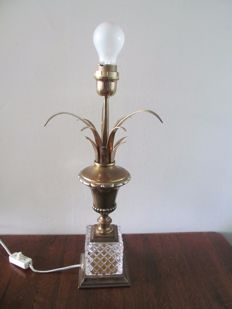 Large copper lamp foot with facet cut crystal foot - France in style of Maison Jansen - ca. 1970
