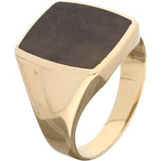 14 kt - Yellow gold signet ring set with black onyx - Ring size: 18.15 mm