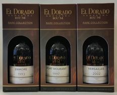 3 limited Rums of El Dorado: Enmore Vintage 1993 21 years old + Port Mourant Vintage 1997 20 years old + Versailles Vintage 2002 12 years old (Rare Collection)