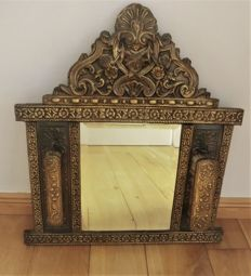 French copper foil/wood antique facet cut mirror with clothes brushes
