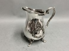 Antique silver plated water jug with stopper for ice cubes, England, ca 1910