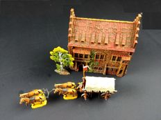Elastolin, Western Germany - 1/26 scale - Plastic medieval House incl. Horsedrawn Cart, 1960/70s