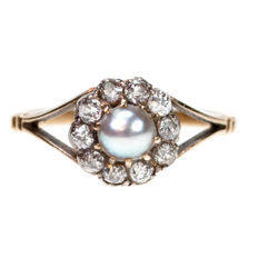 Diamond, Pearl, Gold Ring