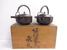 Set of 2 cast iron sake kettles (chōshi). Decorated with flower in relief with make-e gold lacquered wooden lids - Japan - 19th century (Bunka period)