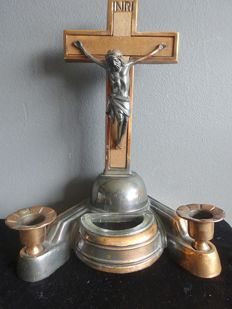 Altar / holy water font/tray, wood, zamac, Jesus on the cross - Germany - Ca 1940/50