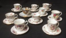 Collection of 20 English porcelain cups and saucers: Paragon, Elizabeth, Hammersley, Twickle Castle, Royal Standard