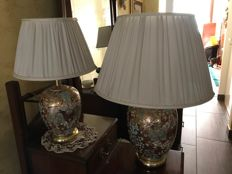 Two Antique Ceramic Lamps, hand-painted in gold