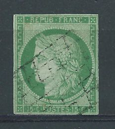 France, 1850 - 15 centimes, green - Yvert no. 2