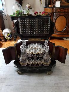 Ebonised wooden marquetry liqueur chest inlaid with mother of pearl - France - circa 1900