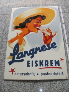 Large advertising sign/metal sign - Langnese Eiskrem - Germany ca. 1960-70