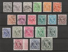 American and British Zone 1945 - definitives series M in oval - German print - Michel 16/35