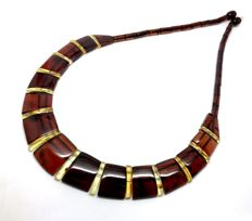 Wide necklace of genuine Baltic Amber slices (not pressed) - length 46 cm, width 20 mm