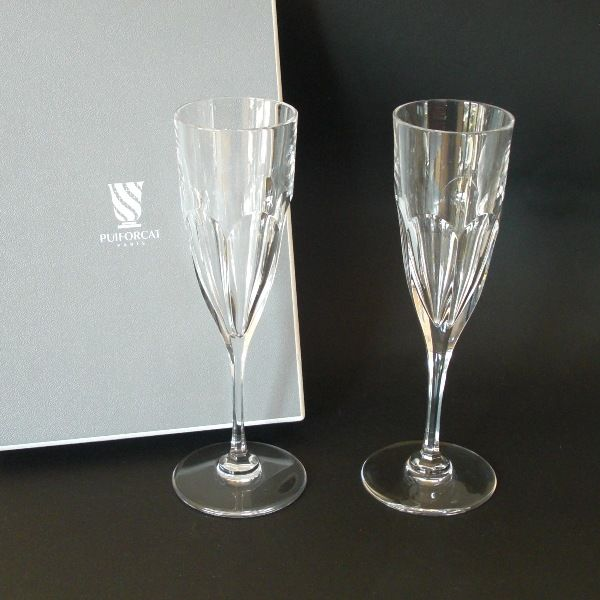 Puiforcat (France) - ' Bristol' 2 x flutes of champagne in crystal