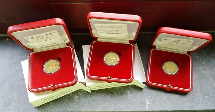 "Monaco - 2 Euro coin 2010, 2012 and 2013 ""Prince Albert II"" (3 different)"