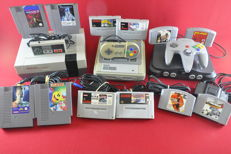 Nintendo NES, SNES and Nintendo 64 Consoles with 12 games eg Gremlins 2, F-Zero, 007 and more