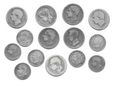 Spain - Century of the Peseta, Alfonso XII and Alfonso XIII - Lot of 14 Silver Coins with rare