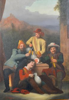 Friedrich Küpper (Act. 1860-1864) - Drunken revelers