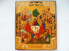"The russian orthodox icon ""The Trinity"", hand painted,tempera, wood, XX th century."
