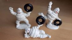 3x Michelin Bibendum advertising figures cast iron
