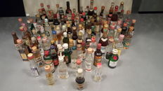 Lot of 104 miniature liquor bottles - full