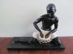 Salvatore Melani - African man with drum - on marble base