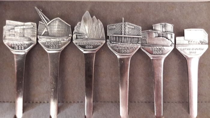 Expo 58, 6 silver plated forks pavilions, Expo 58