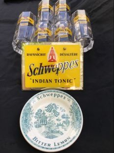 "Beautiful Vintage Mirror advertising _ ""SCHWEPPES Indian Tonic"" __ 6  Chweppes glasses and Chweppes dish __ Ca. 1960-1975"