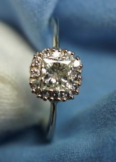 Gold Ring - 2.31 gr. with  Diamonds - 0.84 ct. total , size 56 ***No Reserve***