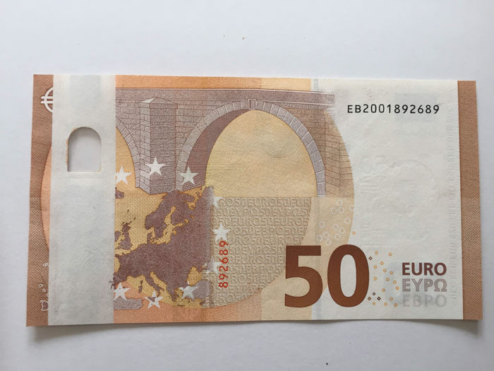 European Union - Italy - 50 euro 2017 - Draghi - ERROR note - White strip - Without hologram