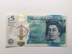Great Britain - 5 pounds 2016 - ERROR / MISPRINT - Error in green bullet as seen in photo