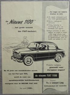 Fiat 1100 - Lot of 25 Advertisements from 1954 to 1967