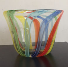 Murano - vintage bowl with coloured stripes