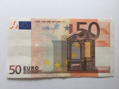 European Union - Spain - 50 euro 2002 - Draghi - ERROR note - Without hologram