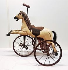 Large decorative wooden horse tricycle with cast iron frame