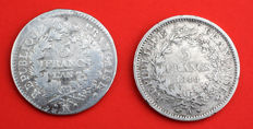 France - 5 Francs Year 7-K & 1849-A (lot of 2 coins) – Silver.