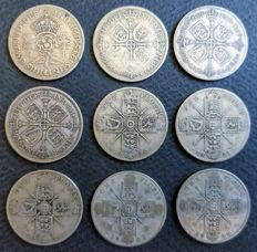 United Kingdom - Florins 1920/1945 George V and VI (9 pieces) - silver
